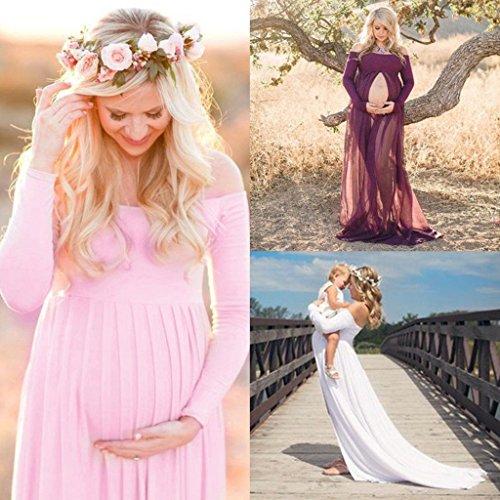 MagiDeal Donne Incinte Abiti Vestito Di Maternità Abito Puntello Della Foto + Fascia Del Fiore bianco blu