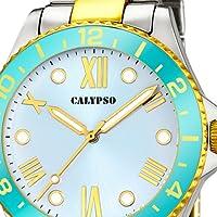Calypso Watches K5651/1 - Reloj de mujer en color plateado y dorado, con bisel turquesa de Grupo Festina Lotus