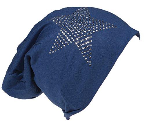 Strass Stern Baby Kinder Jersey Slouch Beanie Long Mütze Unisex Baumwolle Trend Meerblau-48