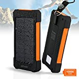 Solar Ladegerät,Levin 10000mAh Regenbestädiges,Staubdichtes und Stoßfestes Duale USB Ports Tragbare Emergency Solar Power bank für iPhone, Android Smart Phone, Windows Phone and Tablets,Orange