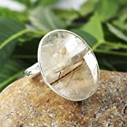 Solid 925 Sterling Silver Natural Rutile Quartz Gemstone Ring Jewelry Sz 6 CM, Anelli d'argento per regalo