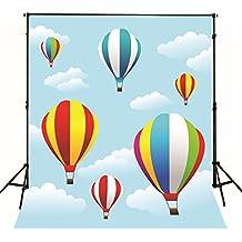 Colorido Globo de aire caliente fotografía fondos para niños recién nacido bebé cabina fotos fondos de Studio fotos nubes cielo Azul Niños