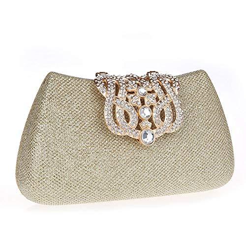 Abend-tasche Frame (MMKJ Glitter Faux Perle Perlen Braut Handtasche Hochzeit Abend Band Rhinestone Embedded Frame Geldbörse,Gold-10 * 5 * 18CM)