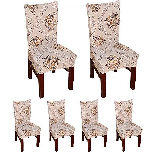 TEERFU abnehmbare Stuhlbezüge aus Stretch-Spandex, Schon- und Schutzbezüge, gute Passform, für das Esszimmer, Hotels, Hochzeiten, waschbar, 6 Stück Color 4