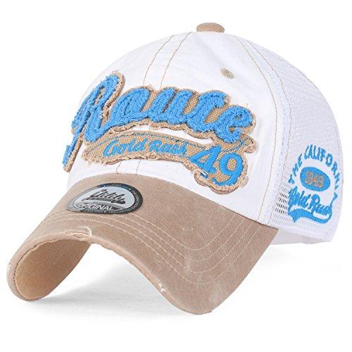 ililily USA Route 49 Gold Rush Freizeitkleidung Baumwolle Netz Trucker Cap Hut Baseball Cap, White