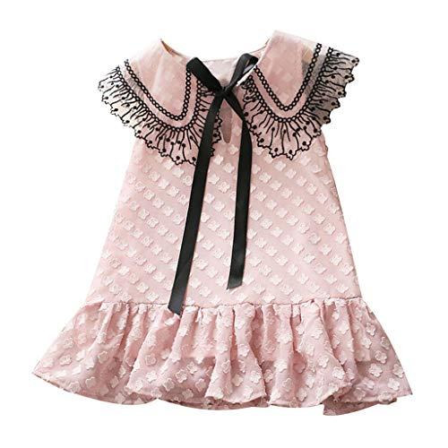 Livoral Mädchen Spitze Bogen Prinzessin Kleid Kind Baby Kind Blumendruck Prinzessin Kleid Freizeitkleidung(Rosa,120) (Billig Red Club Kleider)