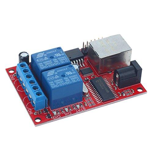 SODIAL LAN Ethernet 2-Wege Relais Platine Verz?gerung Schalter TCP/Udp-Kontrolleur Modul Web Server -
