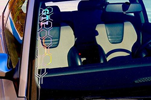 GTI WABENMUSTER Autoaufkleber oilslick 3D folie chrom Silber bunt Frontscheibenaufkleber glitzer folie für golf GTI front Waben tuning