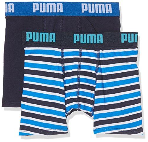 Grande valore 2-pack di Puma boxer slip per i ragazzi in blu e blu marino, ogni coppia con sorprendente allround loghi sul girovita elasticizzato in contrasto colori, 1 paio con un impressionante strisce di disegno. Fabbricato da un tocco molto morbi...