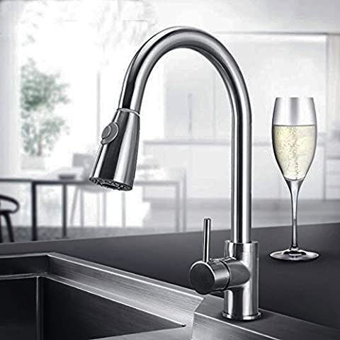 Action Club Kitchen Mixer Tap Solid Brass Chrome Finish Pull Out Sprayer High Arch Swivel Spout Single Lever Sink