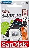Tarjeta de Memoria SanDisk Ultra Android microSDHC de 16 GB con hasta 80 MB/s y Class 10