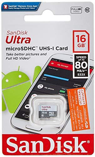 Tarjeta Memoria SanDisk Ultra Android microSDHC 16