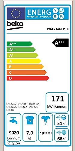 Beko WMI 71443 PTE Waschmaschine FL / A+++ / 171 kWh/Jahr / 1400 UpM / 7 kg / 9020 L/Jahr / weiß / pet hair removel