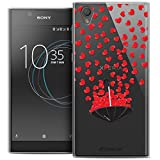 Caseink Schutzhülle für Sony Xperia L1 (5.5) [Crystal Gel, Motiv HD Collection Love Saint Valentin Design Regenschirm Liebe – weich – Sehr dünn – Bedruckt in Frankreich]