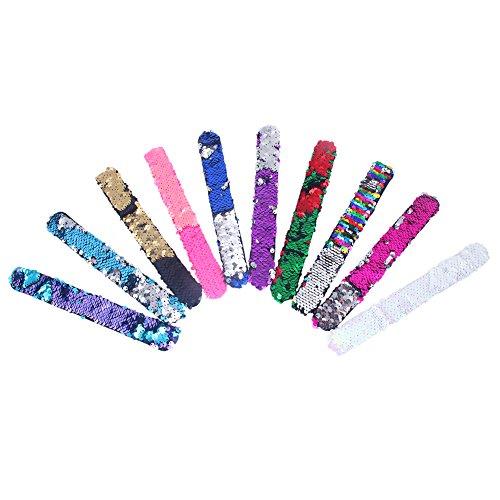 JOTOM 10 Stücke Zweifarbige Reversible Pailletten Armbänder, Reversible Mermaid Charme Pailletten Slap Armband Armband für Kinder, Mädchen, Frauen, Party
