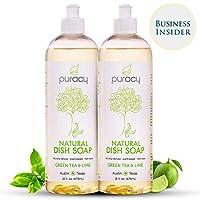 Puracy Natural Anti-Bacterial Liquid Baby Dish Soap, Non-Toxic, Natural & Safe, Green Tea & Lime - 473ml (Pack of 2)