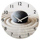 Hama Wanduhr Sand mit Stein aus Glas (geräuscharm, leises Ticken)