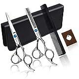 Qhui Forbici Professionali da Parrucchiere Barbiere Set da Taglio per Capelli, Forbici per Taglio Capelli Set di Forbici per Barbiere Kit.