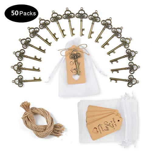 KATELUO 50 Stück Schlüssel Flaschenöffner,50 Stück Umbau-Karten mit Stofftasche,für Hochzeitsdekoration Bankett Gäste Party Bar Supplies