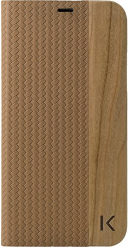 The Kase Collection Flip Case für Apple iPhone X, Brown & Natural Cherry Wood