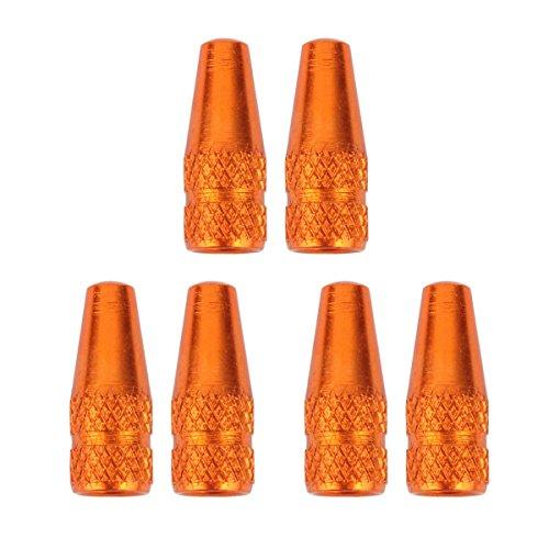 TOMALL Ventilkappen für Fahrradreifen, französisches Ventil, Abdeckungen, Fahrrad-Ventilkappen, Schwarz, 6 Stück, Orange