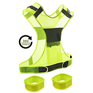 Reflective Vest + 2 Reflective Safety Wristbands & Bag Comfortable, Adjustable & Lightweight Gear with Pocket for Running, Cycling, Jogging, Walking and Dog walking