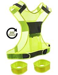 KepooMan Chaleco Reflectante Ajustable para Correr Ciclismo Perro Caminando | Alta Visibilidad Cómodo Seguridad| Chalecos Reflectores con Bolsillos para Motocicleta Bicicleta