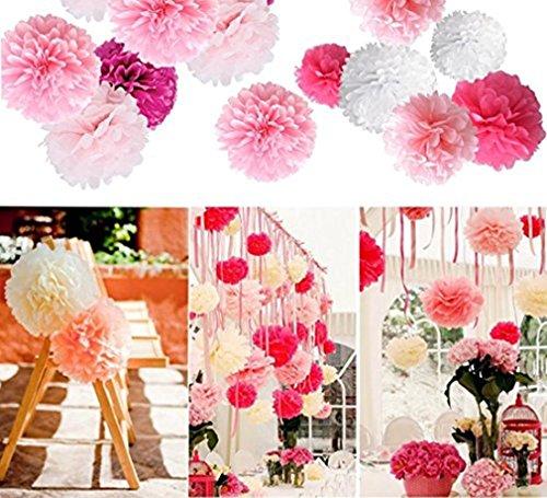 Party Dekoration, 20x Pompons für Gebutztag Hochzeit Baby Shower Weihnachten Rose (Weihnachten Party Dekoration)