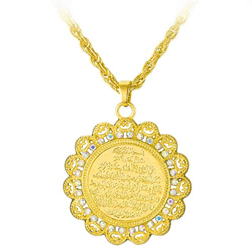 MCSAYS Fashion Jewelry Halskette mit Anhänger Legierung Muslim Islam Allah Schrift Gold