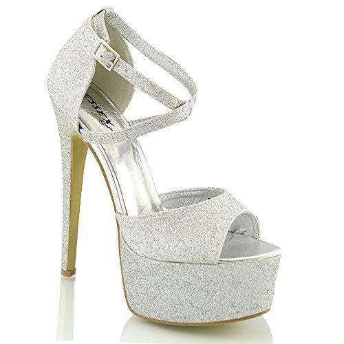 ESSEX GLAM Sandalo Donna Peep Toe con Lacci Plateau Tacco a Spillo Alto (UK 4 / EU 37 / US 6, Argento Glitter)