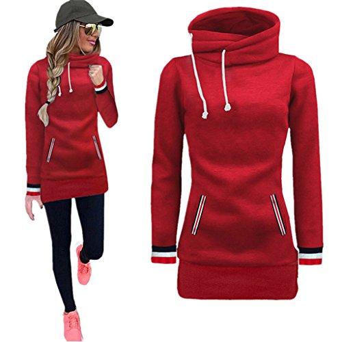 Amlaiworld Winter Herbst bunt Rollkragen Mäntel damen komfortabel locker sport Sweatshirt warm weich Lang Tasche pullover (XL, Rot)