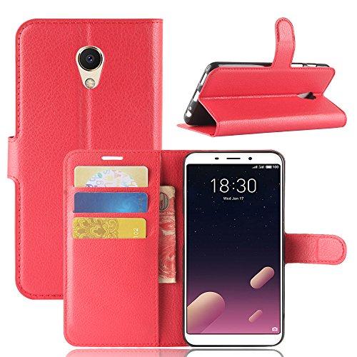 Kihying Hülle für Meizu M6s / Meilan S6 Hülle Schutzhülle PU Leder Flip Wallet Fashion Geschäft HandyHülle (Rot - JFC03)