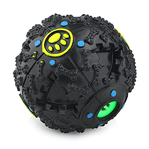 Magic Zone Smarter Interactive IQ Treat Ball Dog Toys Ball, 4.7 Inch, Black