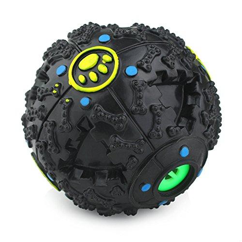 Magic Zone Klüger Interaktiv IQ Ball behandeln Hundespielzeug Ball, 12cm, Schwarz