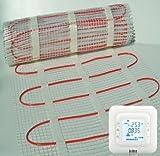 bodenwärme Rut chauffante Elektrische für Fußboden mit DOUBLES Kabel und Thermostat Digital Größe zu wählen 150W/m²