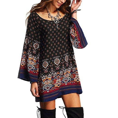 Transer ® La personnalité de femmes cou à manches longues Parti Vintage Round Plage lâche Décontracté Vestidos(S-XL) Multicolore