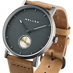 Meller Unisex Maori Nag Camel Minimalist Watch with Grey Analogue Display and Leather Strap
