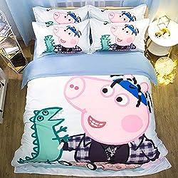 ZHOUING-- Juego De Sábanas Peppa Pig Juego De Colección De Ropa De Cama Blanca De 4 Piezas, Funda De Edredón De Lujo con 2 Fundas De Almohada,1.8M