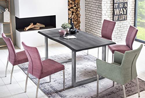 SalesFever Esszimmer-Tisch 120x80 cm | Akazie | echte Baumkante | grau -farbig | silbernes U-Gestell aus Metall | Massiv-Holz