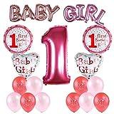 Kesoto Conjunto de Globos de Cumpleaños para Niñas Globos para el Primer Cumpleaños Decoraciones de Cumpleaños Recién Nacido 7 Globos de Papel + 10 Globos de Látex, Rosa