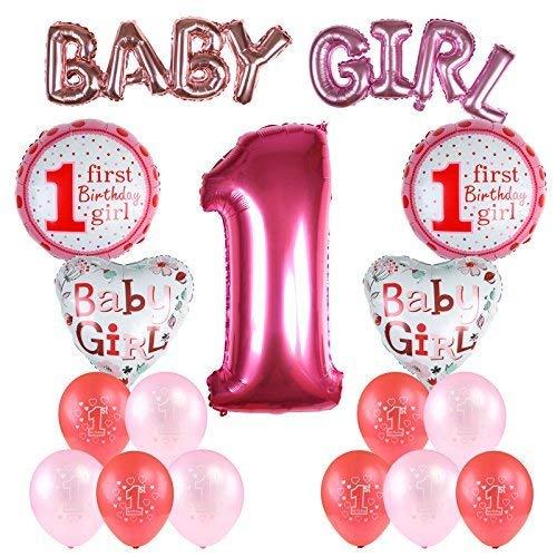 Kesote 17 Stück Geburtstag Ballon Set, Helium Folie Ballons und Luftballons für Geburtstag Deko 1 Jahr Alt (Baby Girl Mädchen)