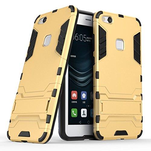 YHUISEN Huawei P10 Lite Case, 2 In 1 Eisen Rüstung Tough Style Hybrid Dual Layer Rüstung Defender PC + TPU Schutzhülle mit Stand Shockproof Case für Huawei P10 Lite ( Color : Silver ) Gold