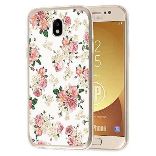 deinPhone Samsung Galaxy J7 (2017) Silikon Case Blumengestecke Weiß