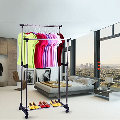 Kleiderstange Kleiderständer Kleiderwagen Wäscheständer 4 Modell Verstellbar (Modell 4)