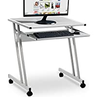 Computer Desk Table Worksation Sliding Keyboard 62 x 48 x 73 cm Black White Brown 4 Wheels Z-Shaped Movable PC Study Table