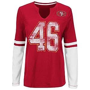 "San Francisco 49ers Women's Majestic NFL ""Kickoff"" L/S Notch Neck Shirt Camicia"