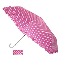 Raintec Womens Ruffle and Polka Dot Compact Hook Handle Umbrella, Pink