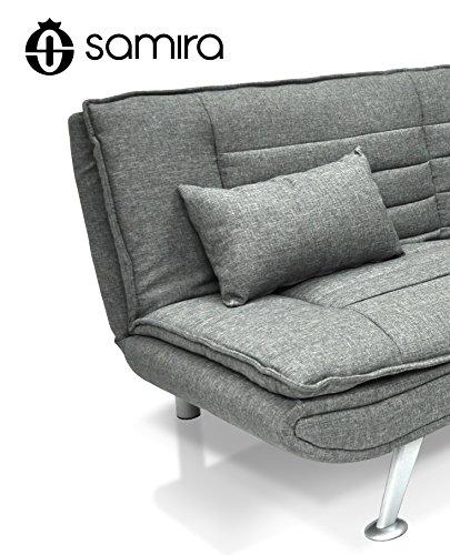 Divano letto in tessuto grigio divanetto 3 posti mod iris con cuscini negozio online - Cuscini divano on line ...
