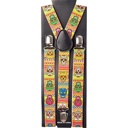 Amakando Sugar Skull Hosenhalter Dia de los Muertos Suspenders Tag der Toten Kostümzubehör La Catrina Accessoire Bundhalter Totenfest Halloween Totenkopf Hosenträger