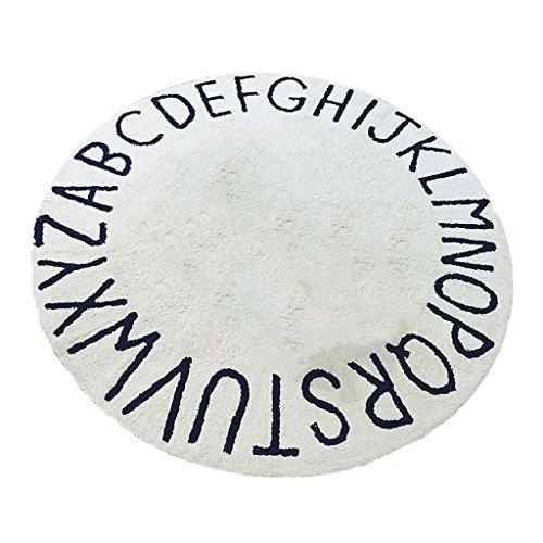 MagiDeal Kinder Spielmatte Rund Kuschelweich Teppich mit Buchstaben Motiv Vorleger Bodennatte krabbelnd Baby Sitzkissen Diameter : 120cm Buchstaben Teppich